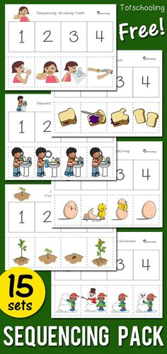 FREE printable Sequencing worksheets for preschool and kindergarten kids. Includes 15 activities featuring seasonal themes, hygiene such as brushing teeth, washing hands, and fire safety. Great for language and literacy development! #mathfortoddlers