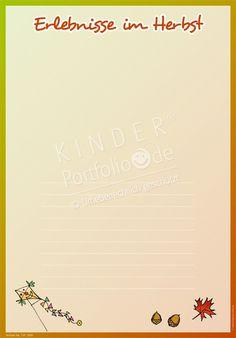 """Kindergarten Portfolio Vorlage """"Erlebnisse im Herbst"""""""