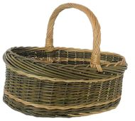 Shopping Basket Full green and white willow Size 44 x 39 x 18cm