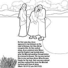 Jesus Lives The Road To Emmaus Coloring Card