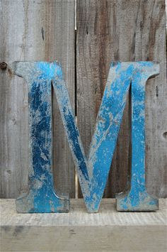 MEDIUM VINTAGE STYLE 3D BLUE M SHOP SIGN LETTER TIN WALL ART LETTER FONT 8 INCH #VINTAGERETRO
