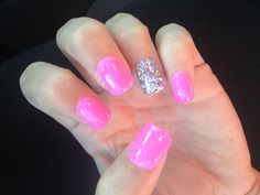 Pink with a silver accent nail!