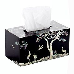 Mother of Pearl Inlay Crane Pine Tree Design Black Handmade Lacquer Wooden Rectangular Decorative Kleenex Boutique Facial Tissue Box Cover Dispenser Holder ** For more information, visit image link.