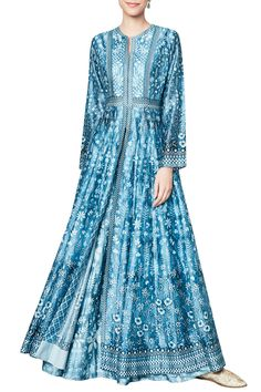 ANITA DONGRE Blue Digitally Printed Jacket with Sharara Set. Shop now! #anitadongre #ethnic #indianfashion #indiandesigners #perniaspopupshop #happyshopping