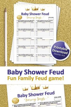 Baby Shower Signs, Baby Shower Games, Baby Boy Shower, Printable Party, Baby Shower Printables, Valentine's Day Party Games, Family Feud Game, Gold Baby Showers, Gender Neutral Baby Shower