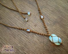 Colar Macramê Opalina (Pedra da Lua) #macrame #macramê #colar #necklace #opalina #opaline #moonstone #pedra #da #lua
