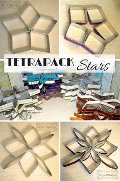 By upcycling square silver tetrapacks and wallpaper rests you can craft beautiful stars - pretty & colourful window decor! Tutorial on Vintage Design Barn #upcycling #tetrapacks #wallpaper #diy #xmas #star #xmascrafts #craftidea #xmasdecoration