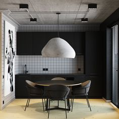 One room apartament - kitchen design Apartment Interior, Apartment Design, Kitchen Interior, Küchen Design, Modern Design, House Design, Black Kitchens, Home Kitchens, Black Interior Design