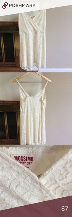 Mossimo Target White lace mini dress - never worn I bought this for my bachelorette but never ended up wearing it! White lacy wrap style swing dress, super flattering! Adjustable straps and wrap top has hook fastening. I'm 5'7 and this hits just above my knee. Mossimo Supply Co. Dresses Mini