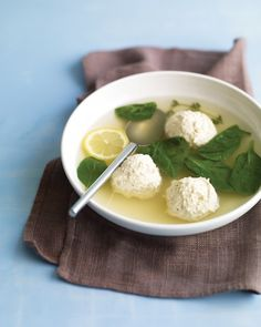 FoodChicken-and-Ricotta Meatballs in Broth  Chicken-and-Ricotta Meatballs in Broth by marthastewart: Light, healthy and tasty. #Meatball_Soup #Chicken_and_Ricotta_Meatballs #marthstewart