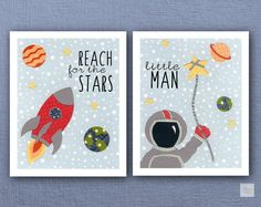 Space Boy Nursery Art Prints Red Blue Yellow by SweetieandRoo