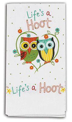 "Life's A Hoot Owls 100% Cotton Flour Sack Dish Towel / Tea Towel, 26"" x 26"""