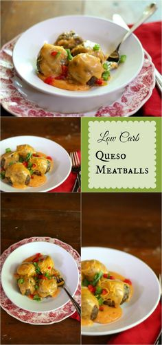 Low carb queso meatballs are so good and the queso is perfect for chicken or as a dip, too! From lowcarb-ology.com