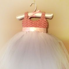 1st Birthday Party Dress (front) crochet with tulle