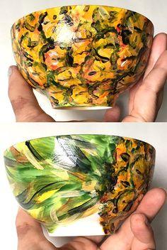FRUIT BOWLS Porcelain Hand-Painted: Pineapple Watermelon