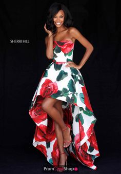 Buy dress style № 51816 designed by SherriHill Unique Prom Dresses, Dressy Dresses, Red High Low Dress, Sherri Hill Prom Dresses, Dress Stand, Taffeta Dress, Dress Images, Mode Outfits, Buy Dress