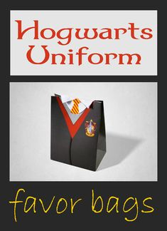 This Wizards Uniform Favor Box is great for magical style parties and fancy dress parties. #ad #harrypotter #harrypotterfan #potterhead #hogwarts #gryffindor #favorbag #instantdownload #pdf #etsy