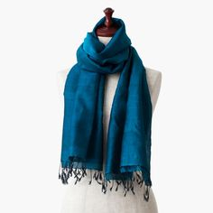 """The silk stole from Cambodia named """"Elegant Night Blue""""."""