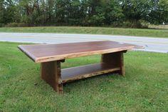 Live Edge Walnut Coffee Table with Shelf