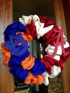 Alabama Auburn House Divided Football Burlap Wreath - Roll Tide ~ War Eagle ~ Game Day  College Football SEC  on Etsy, $65.00