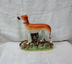 Staffordshire English Pottery Grey Hound Hunting Dog Figurine