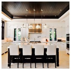 Kitchen Inspo...French Provincial, Marble Bench, White & Chocolate wood!