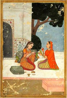 Patamanjari. Rajput, Provincial Mughal, 18th century. Heroine  listens to a friend; the friend (the advisor or consoler), is wearing a shawl and holding a glass and a parrot. On the terrace a few containers, a classy box of betel.