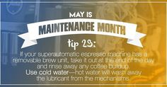 Got a superautomatci espresso machine? How often do you rinse the brew unit? If your machine has a removable brew unit you'll want to take it out and rinse it with COLD water at the end of each day of use. It only dates a moment but it makes a big difference - it's worth the effort.  #MaintenanceMonth #superautomatic #espressomachine #maintenance #tips http://ift.tt/1VbgBi2