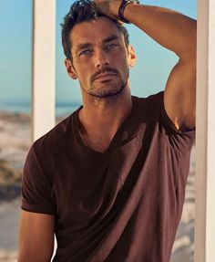 David Gandy For Autograph - M&S Beachwear Collection (Summer Cotton Rich Tailored Fit T-Shirt with Linen Wine by davidgandyfr David Gandy, Models Men, Male Models With Beards, Photography Poses For Men, Hommes Sexy, British Men, Male Poses, Gorgeous Men, Supermodels