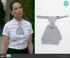 Joan's striped mini-tie on Elementary. Outfit Details: http://wornontv.net/53719/ #Elementary