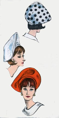 Vintage 60s Vogue 6431 MOD Sally Victor Original Sewing Pattern Beret Head Size 22  Pinned by WhatnotGems