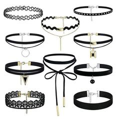 FIBO STEEL 10 PCS Womens Black Velvet Choker Necklace for Girls Lace Choker Tattoo Necklace >>> You can get additional details at the image link. (This is an affiliate link and I receive a commission for the sales) Cute Choker Necklaces, Tattoo Choker Necklace, Girls Necklaces, Concert Outfit Fall, Cute Concert Outfits, Concert Style, Boho Outfits, Grunge Outfits, Lollapalooza