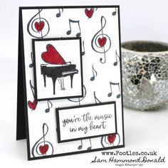 Stampin' Up! Demonstrator Pootles – Music From The Heart Monochrome Marker Card - Modern Musical Cards, Up Music, Music Notes, Music Stuff, Thing 1, Beautiful Handmade Cards, Stamping Up Cards, Heart Cards, Valentine Day Cards