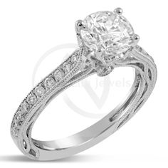 Antique Style Round Cut Diamond Engagement Ring Vintage R232