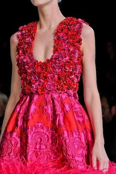 red and fuschia silk --- so personally I'm not as crazy about the colors ... but the overall LOOK I love!!!