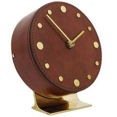 Carl Aubock Modernist Leather Brass Clock, Vienna, 1950s | From a unique collection of antique and modern clocks at https://www.1stdibs.com/furniture/decorative-objects/clocks/
