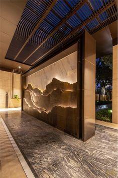 Interior Walls, Interior And Exterior, Cafe Design, House Design, Interior Design Help, Interactive Walls, Wood Cladding, Lobby Design, Entrance Design