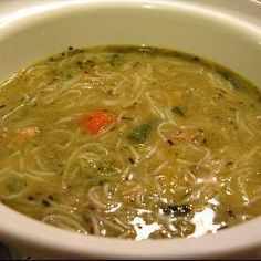 Chicken soup with noodles, herbs and veg @ http://allrecipes.co.uk