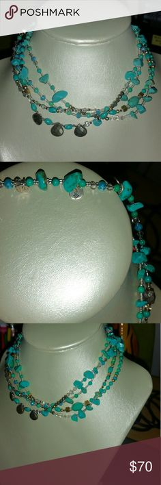 "SILPADA STONE'S THROW NECKLACE This is a stunning natural turquoise, silver, hematite, and beadwork necklace that is 26"" long so it would be best to double it up which it does easily. No clasp just drape it over. Silpada Jewelry Necklaces"