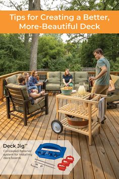 Learn how to build a deck that's more beautiful, comfortable, and longer-lasting. || #kregjig #kregtool #kreg #tools #DIY #diyproject #deck #decking #backyard #summer #entertaining #outdoors #woodworking #woodprojects Outdoor Projects, Wood Projects, Spray Chalk, Kreg Tools, Sidewalk Chalk Art, Cool Deck, Kreg Jig, Building A Deck, Outdoor Furniture Sets