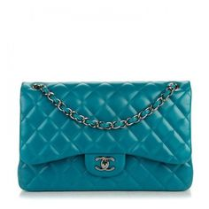 CHANEL Lambskin Quilted Jumbo Double Flap Turquoise ❤ liked on Polyvore featuring bags, handbags, shoulder bags, quilted handbags, chain shoulder bag, chain strap purse, party handbags and party purses