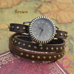 $5.49 (Buy here: http://appdeal.ru/81o6 ) wholesale buyer price good quality classic vintage retro real leather band round rivet punk bracelet wrist watch hour for just $5.49
