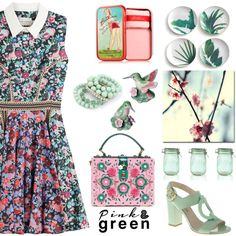 Pink & Green by nicolevalents on Polyvore featuring Mary Katrantzou, Dolce&Gabbana, Benefit, Trademark Fine Art, Rosanna and Kilner
