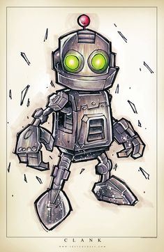 Clank Suave by RobDuenas Cartoon Drawings, Cartoon Art, Cool Drawings, Robot Painting, Robots Drawing, Arte Cyberpunk, Arte Robot, Graffiti Characters, Desenho Tattoo