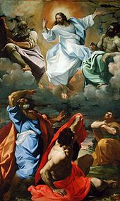 Transfiguration of Jesus depicting him with Elijah, Moses and 3 apostles by Carracci, 1594.