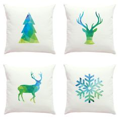 Blue Christmas Pillow Cover Geometric Pillow Deer Head Pillow 16x16... (490 CZK) ❤ liked on Polyvore featuring home, home decor, throw pillows, decorative pillows, home & living, home décor, white, blue accent pillows, christmas throw pillows and white christmas tree