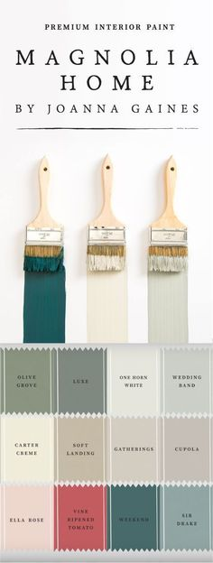 The Magnolia Home Paint collection from designer Joanna Gaines and KILZ is full of so many classic paint colors youll have a hard time choosing just one! Mix timeless neutral colors like One Horn White and Carter Crème with brighter colors like Vine Rip Farmhouse Paint Colors, Farmhouse Decor, Farmhouse Style, Farmhouse Furniture, Country Paint Colors, Country House Colors, Farmhouse Front, Country Style, Farmhouse Interior