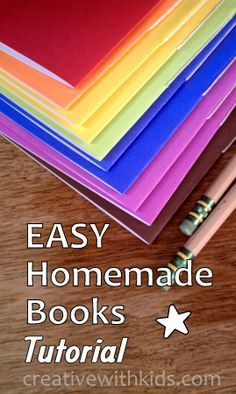 EASY homemade books tutorial, with video showing book binding stitch