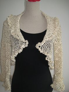 Bolero Paillette Light White Gold Crocheted by MinnieCreation, €99.82