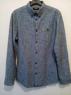 Farah Slim Fit Long Sleeve Blue Denim Look Shirt Mens BNWOT Size Extra Large XL Denim Look, Blue Denim, Denim Button Up, Button Up Shirts, Look Short, Slim, Long Sleeve, Fitness, Men